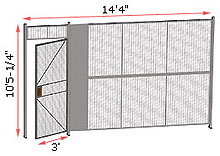 "1-Wall Woven Wire Security Partition, 14'-0"" wide, 10'5-1/4"" tall - 3' Hinged Gate"