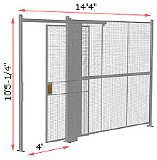 "1-Wall Woven Wire Security Partition, 14'-0"" wide, 10'5-1/4"" tall - 4' Sliding Gate"