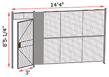 "1-Wall Woven Wire Security Partition, 14'-0"" wide, 8'5-1/4"" tall - 3' Hinged Gate"