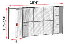 "1-Wall Woven Wire Security Partition, 18'-0"" wide, 10'5-1/4"" tall - 4' Sliding Gate"