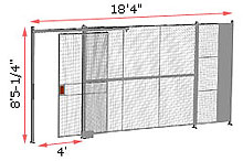 "1-Wall Woven Wire Security Partition, 18'-0"" wide, 8'5-1/4"" tall - 4' Sliding Gate"