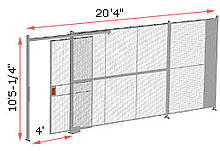 "1-Wall Woven Wire Security Partition, 20'-0"" wide, 10'5-1/4"" tall - 4' Sliding Gate"