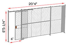 "1-Wall Woven Wire Security Partition, 20'-0"" wide, 8'5-1/4"" tall - 4' Sliding Gate"