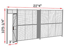 "1-Wall Woven Wire Security Partition, 22'-0"" wide, 10'5-1/4"" tall - 3' Hinged Gate"