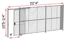 "1-Wall Woven Wire Security Partition, 22'-0"" wide, 10'5-1/4"" tall - 4' Sliding Gate"