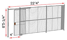 "1-Wall Woven Wire Security Partition, 22'-0"" wide, 8'5-1/4"" tall - 4' Sliding Gate"