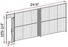 "1-Wall Woven Wire Security Partition, 24'-0"" wide, 10'5-1/4"" tall - 3' Hinged Gate"