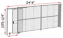 "1-Wall Woven Wire Security Partition, 24'-0"" wide, 10'5-1/4"" tall - 4' Sliding Gate"