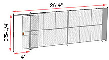 "1-Wall Woven Wire Security Partition, 26'-0"" wide, 8'5-1/4"" tall - 4' Sliding Gate"
