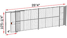 "1-Wall Woven Wire Security Partition, 28'-0"" wide, 10'5-1/4"" tall - 4' Sliding Gate"