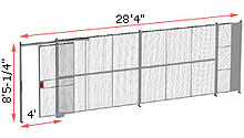 "1-Wall Woven Wire Security Partition, 28'-0"" wide, 8'5-1/4"" tall - 4' Sliding Gate"