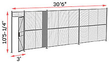 "1-Wall Woven Wire Security Partition, 30'-0"" wide, 10'5-1/4"" tall - 3' Hinged Gate"