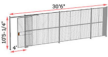 "1-Wall Woven Wire Security Partition, 30'-0"" wide, 10'5-1/4"" tall - 4' Sliding Gate"