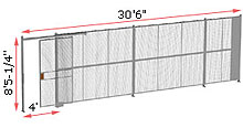 "1-Wall Woven Wire Security Partition, 30'-0"" wide, 8'5-1/4"" tall - 4' Sliding Gate"