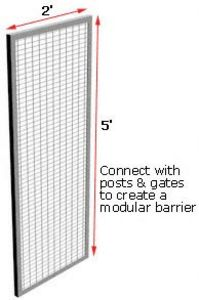 Modular Wire Barrier - Wire Mesh Panel, 2' w x 5' h