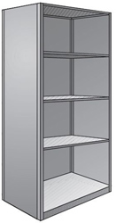 "Steel Shelving, Closed - 48"" W x 24"" D x 87"" H, 5-Shelf Starter, 400 lbs. cap., Beaded Front Posts"