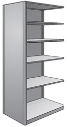 "Steel Shelving, Closed - 36"" W x 24"" D x 87"" H, 6-Shelf Adder, 600 lbs. cap., Beaded Front Posts"