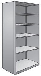 "Steel Shelving, Closed - 36"" W x 24"" D x 87"" H, 6-Shelf Starter, 600 lbs. cap., Beaded Front Posts"