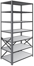 "Steel Shelving, Open - 36"" W x 12"" D x 87"" H, 7-Shelf Starter, 600 lbs. cap., Beaded Front Posts"