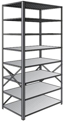 "Steel Shelving, Open - 48"" W x 18"" D x 87"" H, 8-Shelf Starter, 375 lbs. cap., Beaded Front Posts"
