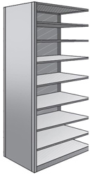 "Steel Shelving, Open - 48"" W x 12"" D x 87"" H, 9-Shelf Adder, 350 lbs. cap., Beaded Front Post"