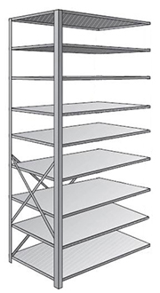 "Steel Shelving, Open - 36"" W x 12"" D x 87"" H, 9-Shelf Adder, 600 lbs. cap."