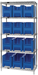 "Wire Shelving Bin System with 5 shelves & 12 Giant Bins - 18""d x 36""w x 74""h"