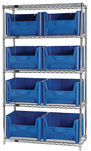 "Wire Shelving Bin System with 5 shelves & 8 Giant Bins - 18""d x 42""w x 74""h"