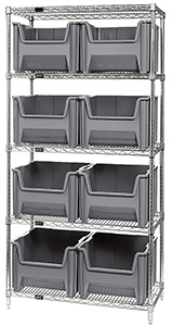 "Wire Shelving Bin System with 5 shelves & 8 Giant Bins - 18""d x 36""w x 74""h"