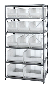 Chrome Wire Shelving w/ 6 Shelves & 13 Mixed Size Clear View Bins