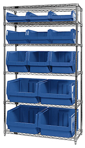 "Wire Shelving Bin System with 6 shelves & 13 Magnum Bins - 18""d x 42""w x 74""h"