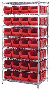 "Wire Shelving Bin System with 8 shelves & 28 Jumbo Bins - 30""d x 36""w x 74""h"