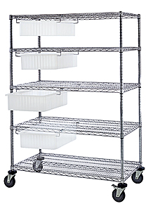 "Transport Cart w/ 4 Clear View Dividable Grid Containers - 60""W"