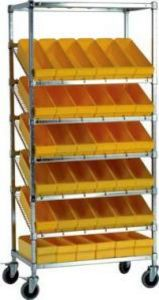 Slanted Stationary u0026 Mobile Wire Shelving with Poly Bins & Slanted Wire Shelving: Stationary u0026 Mobile Shelves with Bins