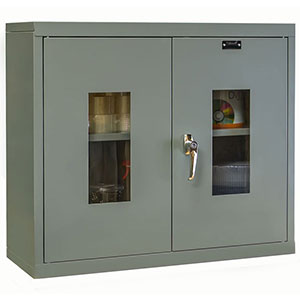 "Wall-Mounted Steel Cabinet - 30""W x 12""D x 26""H, 2 Windowed Doors, 1 Shelf"