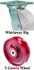 "Whirlaway Rigid Caster - 4"" x 1-1/2"" V-Grooved Wheel"