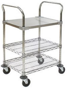 "Utility Cart with stainless steel top solid shelf, 4"" resilient rubber casters - 30""w x 18""d x 40""h"