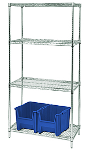 "Wire Shelving - Proform Starter, 42"" W x 24"" D x 63"" H, Four Shelves"