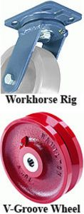"Workhorse Rigid Caster - 4"" x 2"" V-Grooved Wheel, 800 lb. Cap., Roller Bearing"