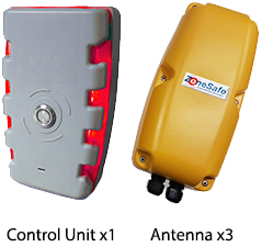 ZoneSafe Type A3 Proximity Detection System - 1 Control Unit, 3 Antennas