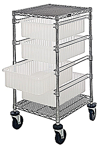 "Bin Cart w/ 4 Sliding Clear View Dividable Grid Containers - 45""H"
