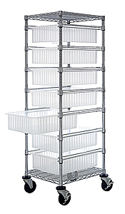 "Bin Cart w/ 7 Sliding Clear View Dividable Grid Containers - 69""H"