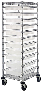 "Bin Cart w/ 11 Sliding Clear View Dividable Grid Containers - 69""H"