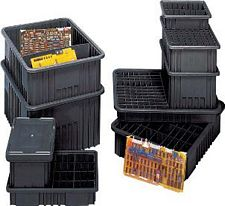 "Conductive Dividable Grid Container - 16-1/2"" x 10-7/8"" x 6"" - Carton of 8"