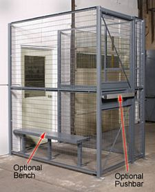 2-Wall Dock Door Security Cage - 4'W x 3'L x 8'H ; 4' Hinged Gate