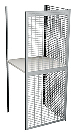 "Double Tier Galvanized Wire Bulk Storage Locker, 4' W x 4' D x 90"" H Adder Unit"