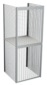 "Double Tier Galvanized Wire Bulk Storage Locker, 3' W x 4' D x 90"" H Starter Unit"