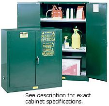 Pesticides Safety Cabinet - 44 x 43 x 18- 2 door, manual w/ Sure-Grip Handle, 30-gal.