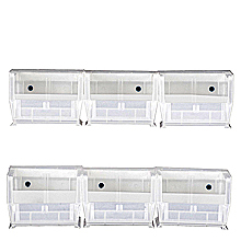 Clear View Bin Hanging System w/ 6 Bins, 2 Rails