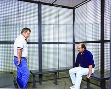 3-Wall Prisoner Holding Cell - w/Ceiling, 16' x 16' x 8', 3' Hinged Door